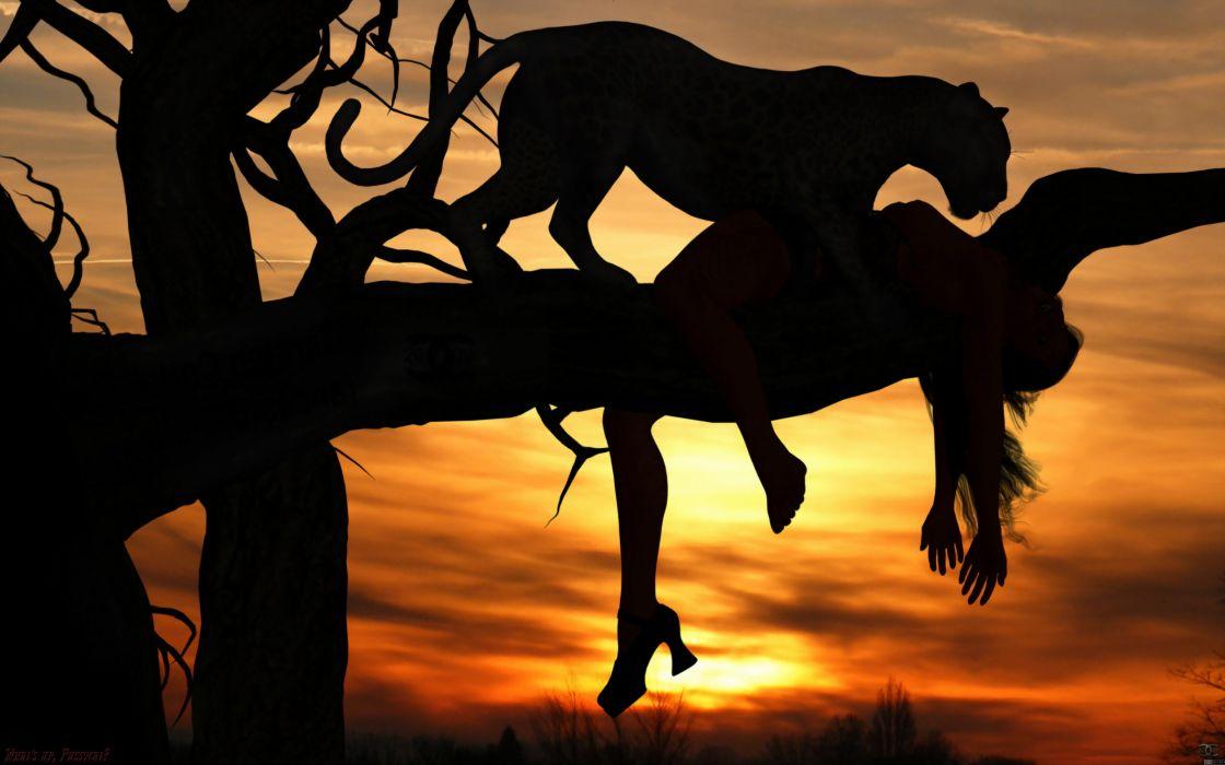 animals cats dark horror scary creepy macabre situations mood women females girls manipulations cg digital-art sunset sunrise africa leopards wallpaper