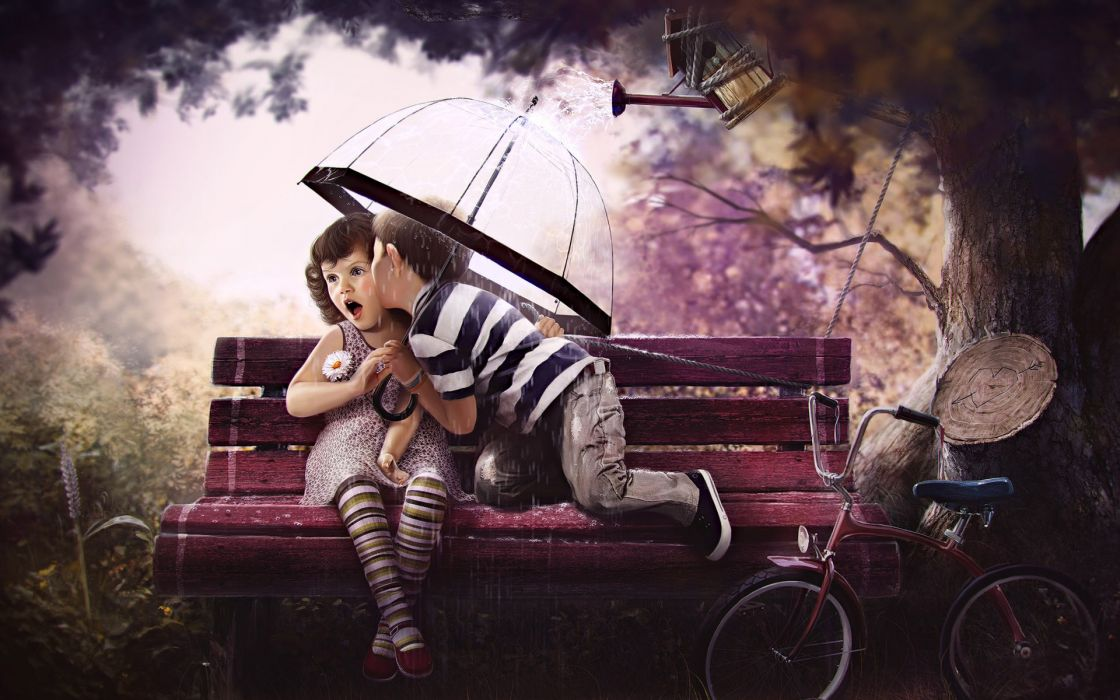 cute children love romance valentines-day rain umbrellas trees cg digital-art wallpaper