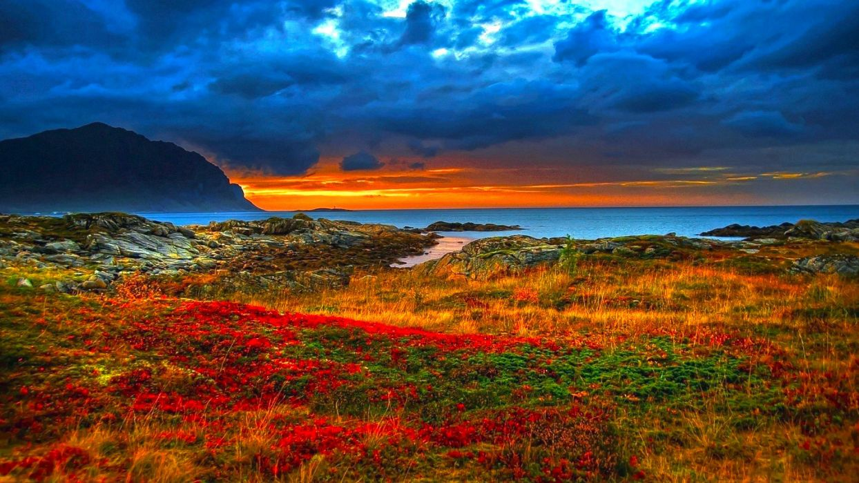 nature sunsets sunrises landscapes hdr skies clouds colors oceans seas wallpaper