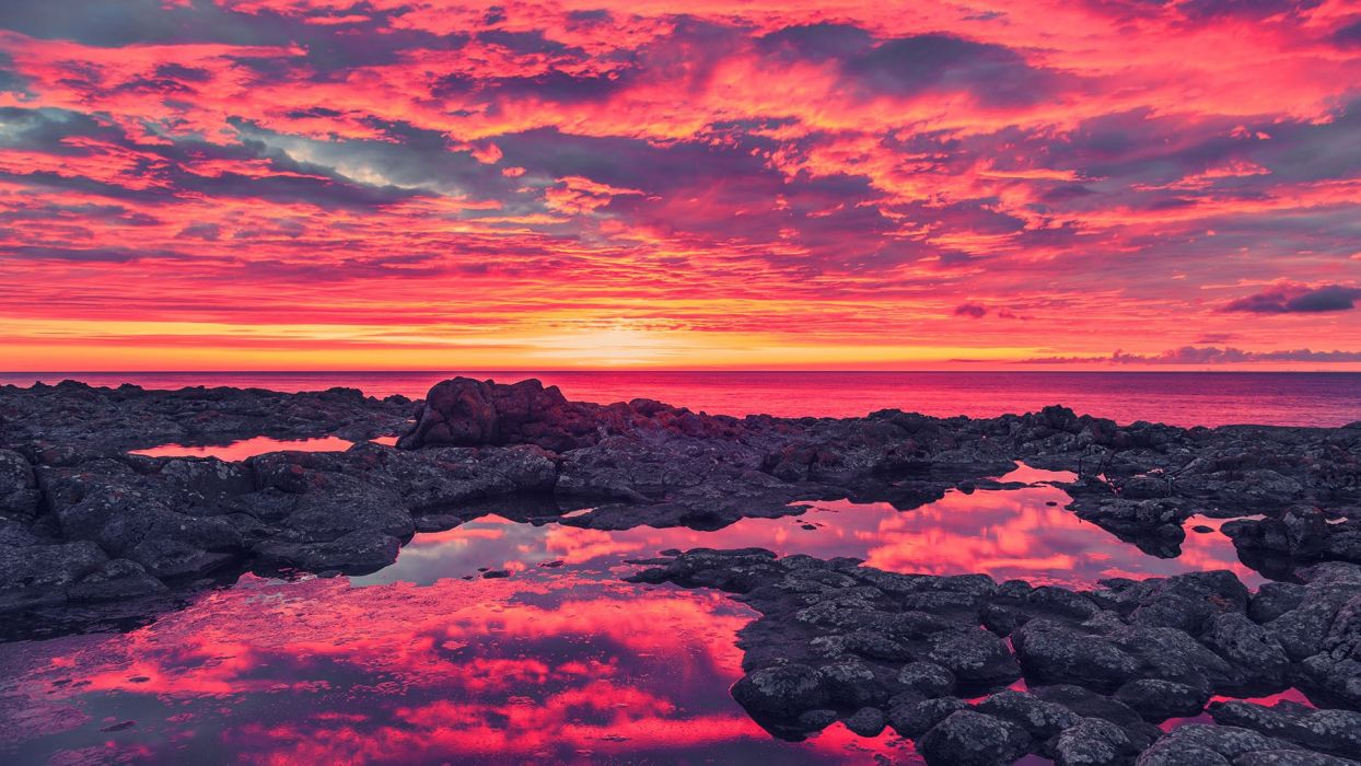 seascapes oceans seas nature colors sunsets sunrises coastlines shorelines reflections skies clouds wallpaper