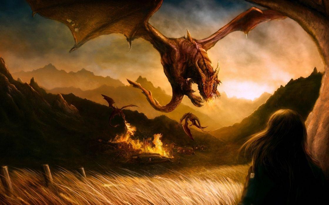 rodg-art_deviantart_com Paintings Airbrushing digital-art cg fantasy dragons  wallpaper