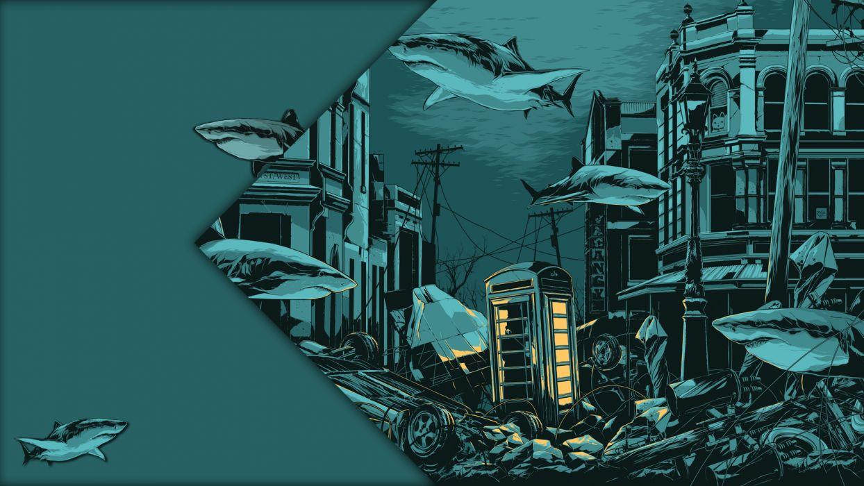 Underwater Green Shark Green Billy-Talent cities animals artistic fantasy music bands entertainment wallpaper