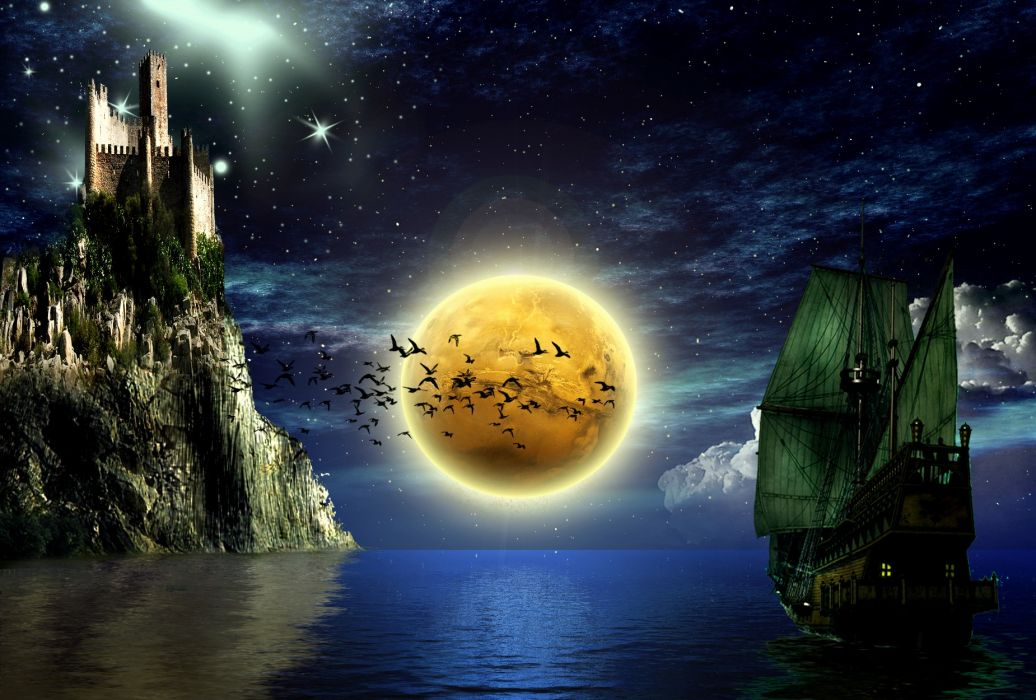 fantasy manipulations ships vehicles pirates castles architecture buildings night moons sky stars birds animals cg digital-art magical oceans wallpaper