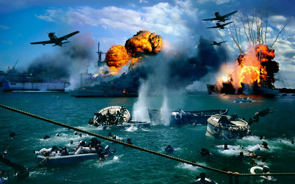 Pearl-Harbor attack battles wars ww2 wwll vehicles watercrafts ships boats oceansfire flames explosions airplanes aircrafts military cg digital-art manipulations wallpaper