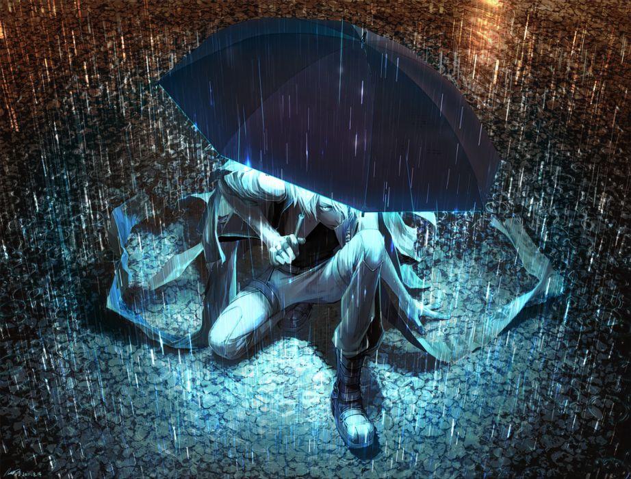 Umbrella Umbrellas anime rain dark night water-drops lights cg digital-art original wallpaper