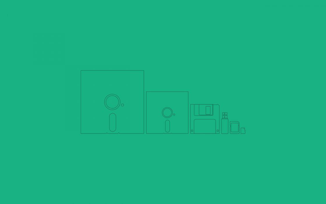 Green minimalistic computers evolution flesh disc simple wallpaper