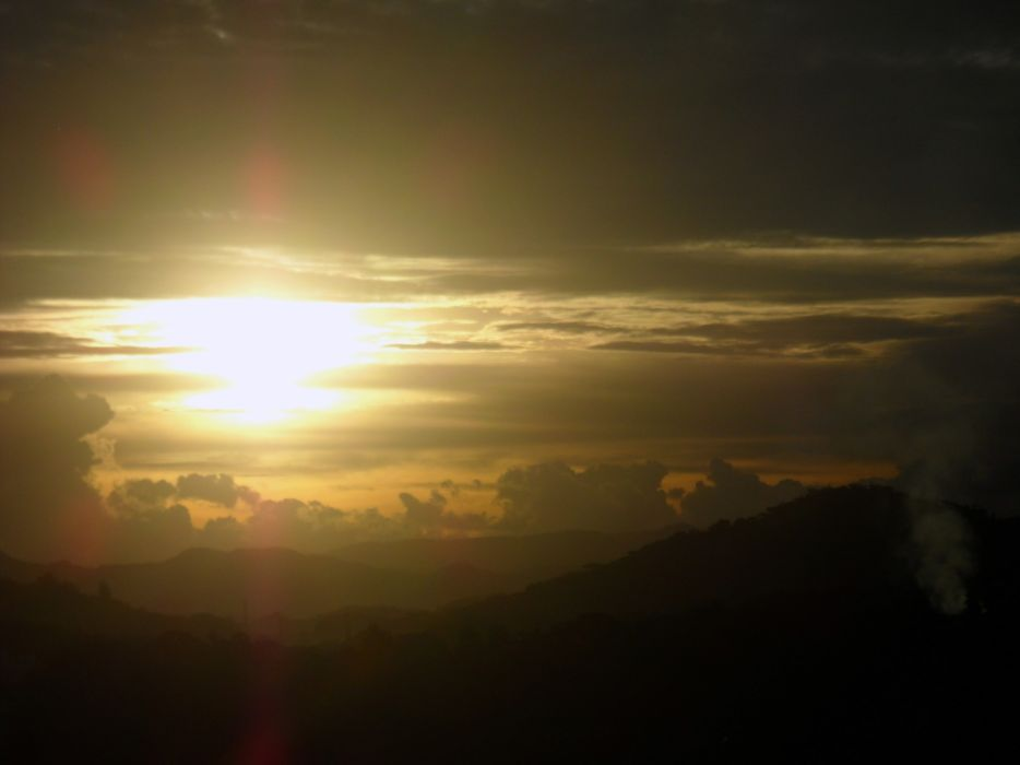 Sunset mountains clouds landscapes nature wallpaper