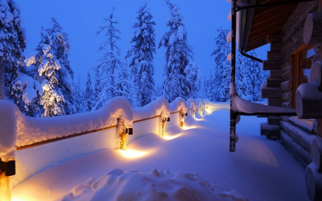 landscapes nature winter snow trees forests night fenceline lights architecture buildings seasons wallpaper