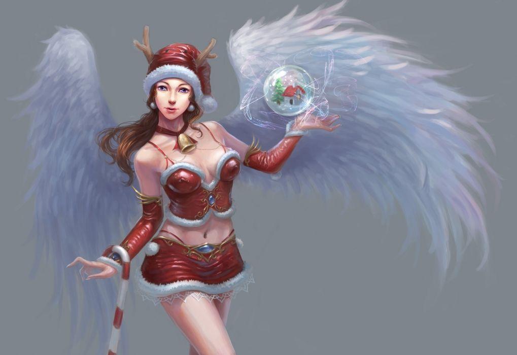 redpeggy_deviantart_com redpeggy zhuli fantasy holidays christmas women females girls sexy sensual babes angels wings wallpaper