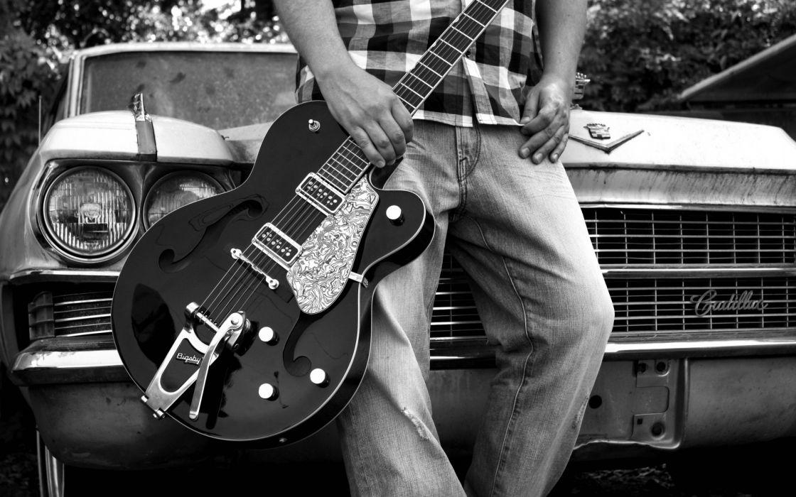 music entertainment guitars black-and-white b/w vehicles cars cadillacs wallpaper