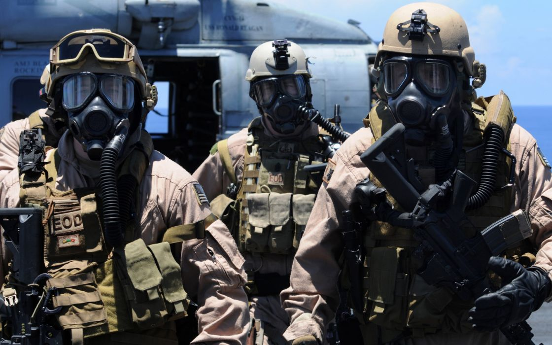 military soldiers people weapons guns rifles gas-mask masks wallpaper
