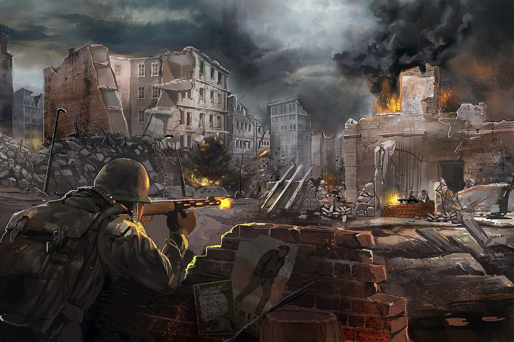Call-Of-Duty military soldiers people weapons guns rifles fire flames destruction cities games video-games entertainment wallpaper