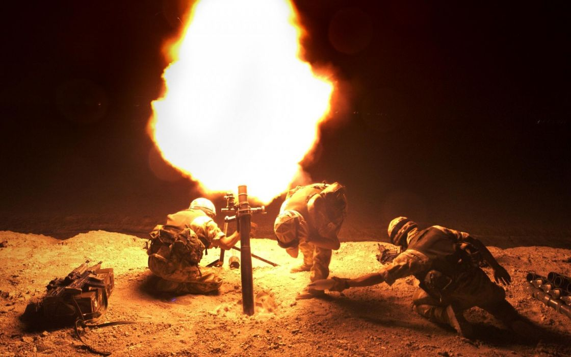 military soldiers weapons explosions fire flames night bright people wallpaper