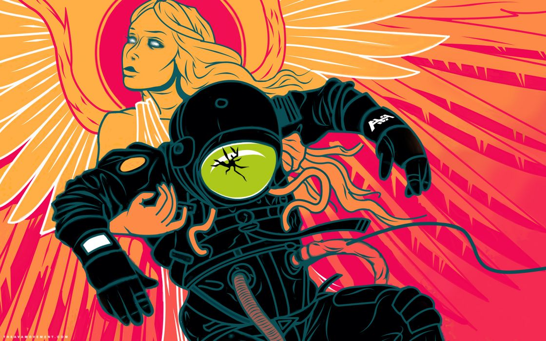 Angels-and-Airwaves music entertainment posters illustrations sci-fi dark angels fantasy astronaut wallpaper