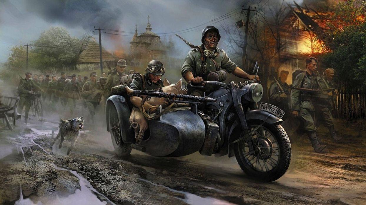 German vehicles motorbikes motorcycles military wars artistic paintings soldiers people fire flames destruction wallpaper