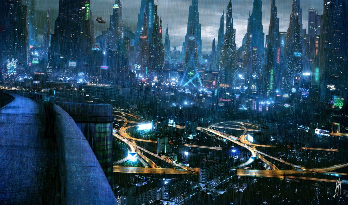 Cyberpunk sci-fi cities futuristic lights artistic cg digital-art paintings airbrushing wallpaper