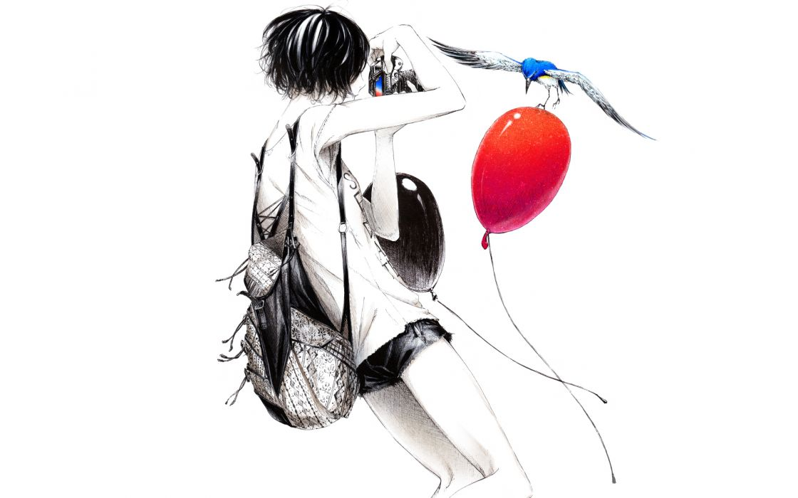 Sawasawa anime photography original Camera women females girls balloons birds animals situations wallpaper