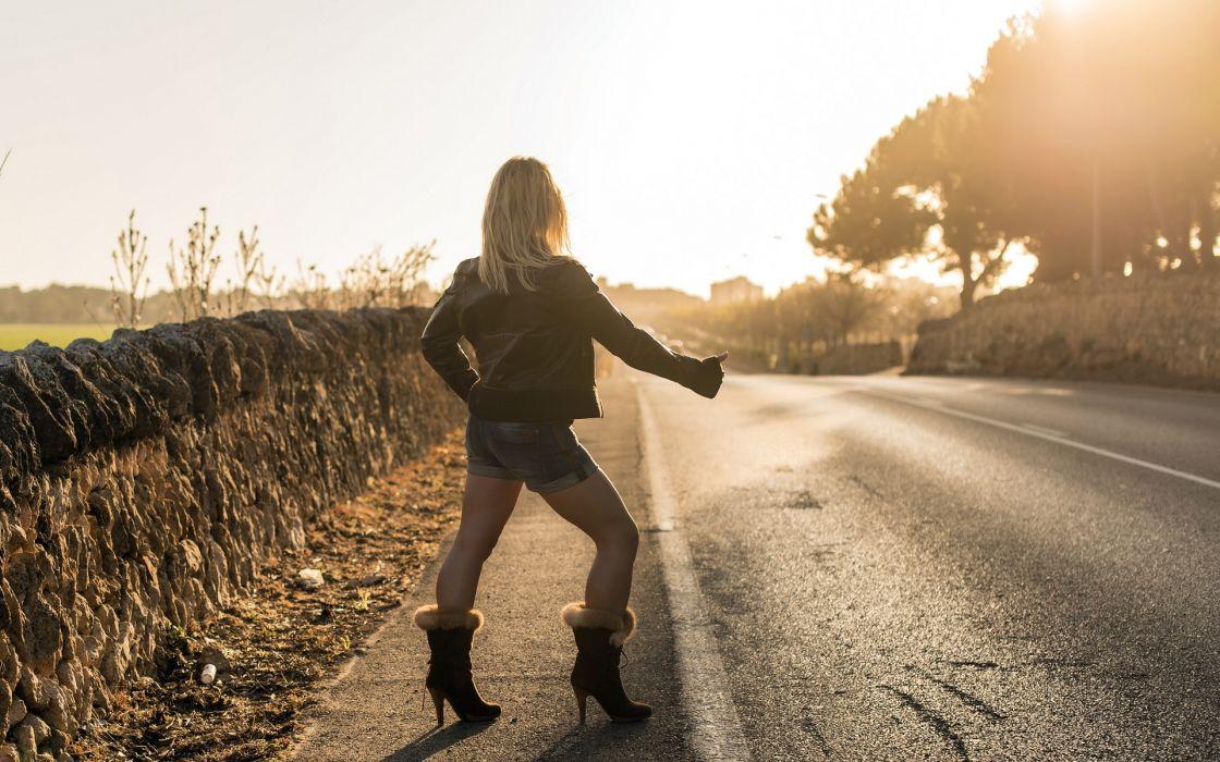 women females girls sexy sensual babes models roads sunlight sunsets photography wallpaper