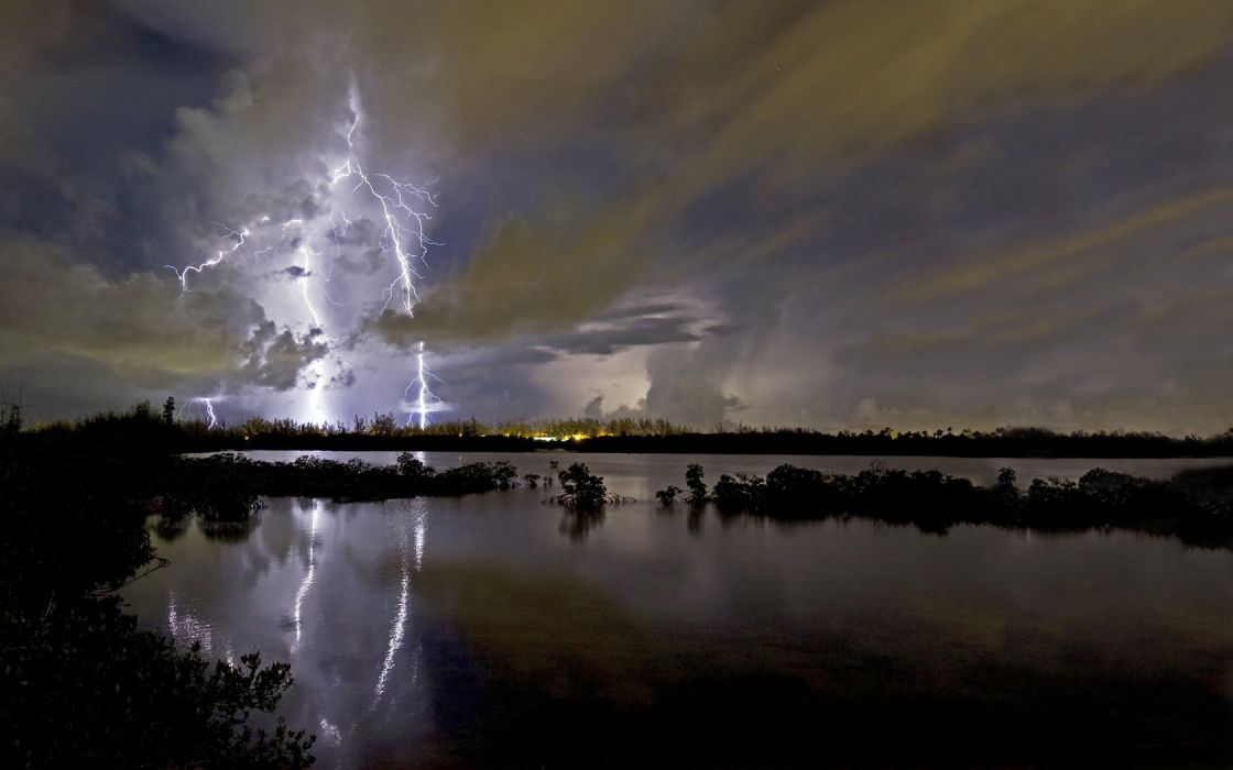 landscapes water lakes nature storms rain skies clouds lightning reflections wallpaper