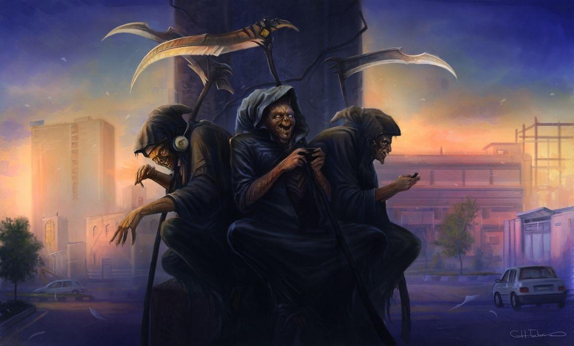 dark horror scary creepy spooky reapers grim-reapers weapons cg digital-art destruction skulls skeletons wallpaper