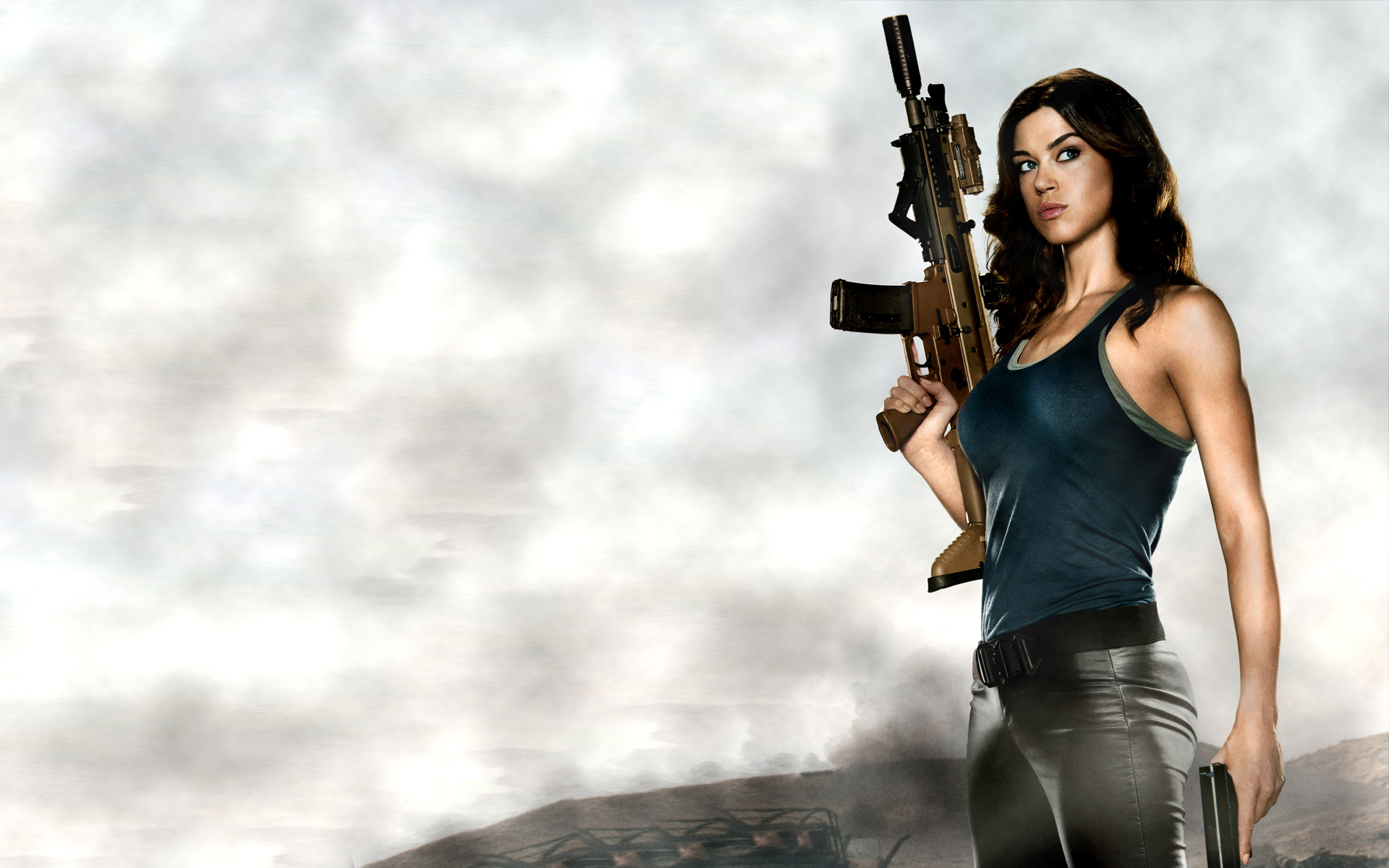 weapons guns rifles machine guns women females girls sexy sensual babes celebrities actress military wallpaper 1920x1200 22876 wallpaperup