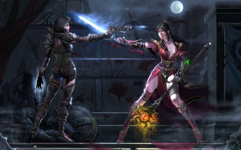 Diablo fan-art fantasy battles dark wars games video-games weapons swords guns entertainment women females girls sexy babes wallpaper