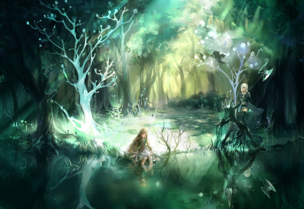 h2so4kancel pixiv-fantasia pixiv fantasia anime landscapes trees forests lakes soft women females girls magical artistic anime wallpaper