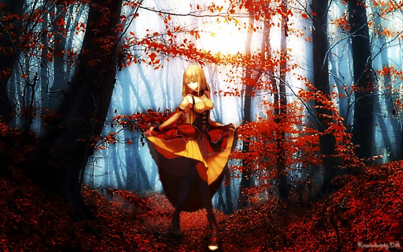 cg digital-art art artistic paintings airbrushing anime fantasy women females girls nature trees forests landscapes wallpaper