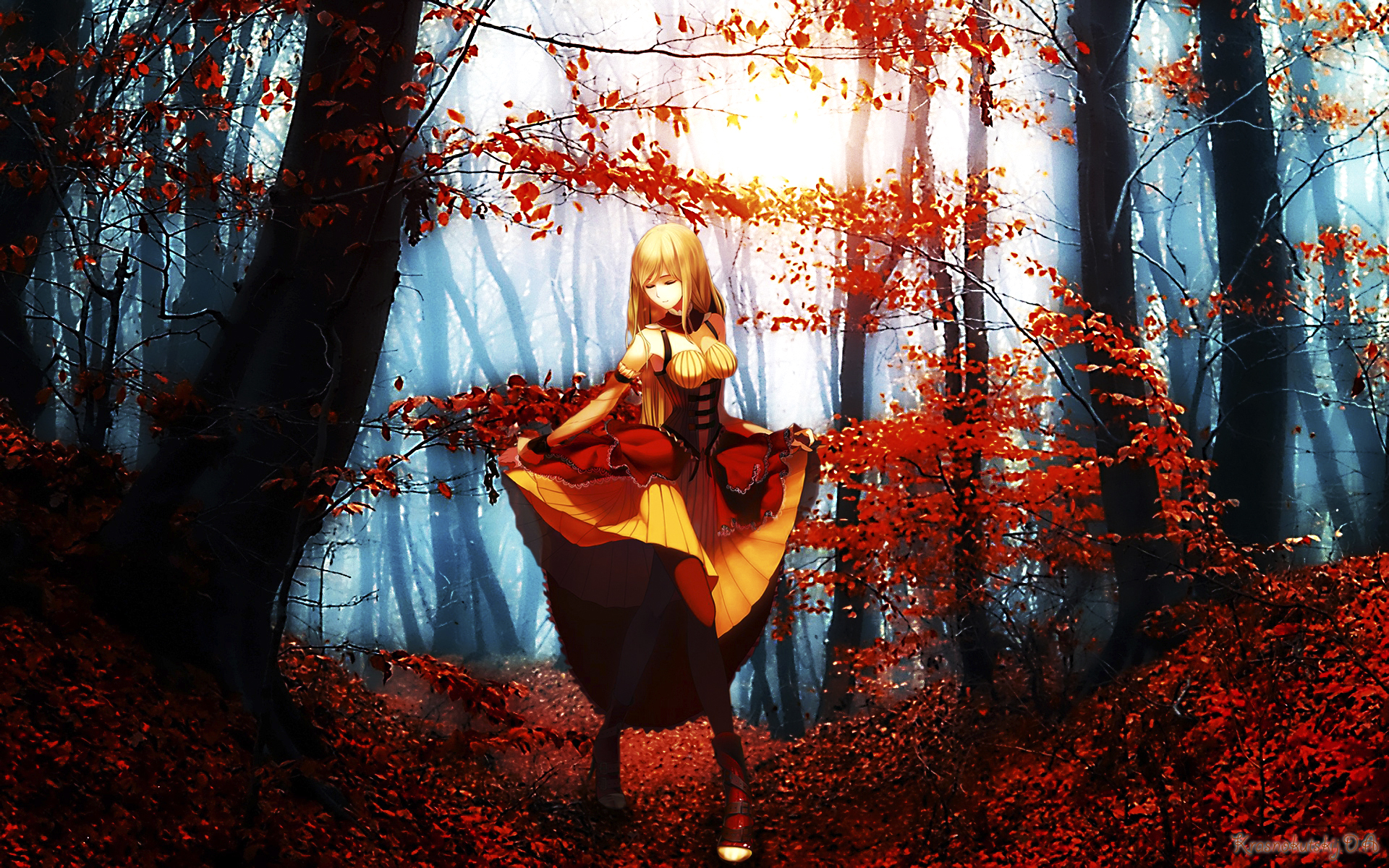 Cg Digital Art Artistic Paintings Airbrushing Anime Fantasy Women Females Girls Nature Trees Forests Landscapes Wallpaper
