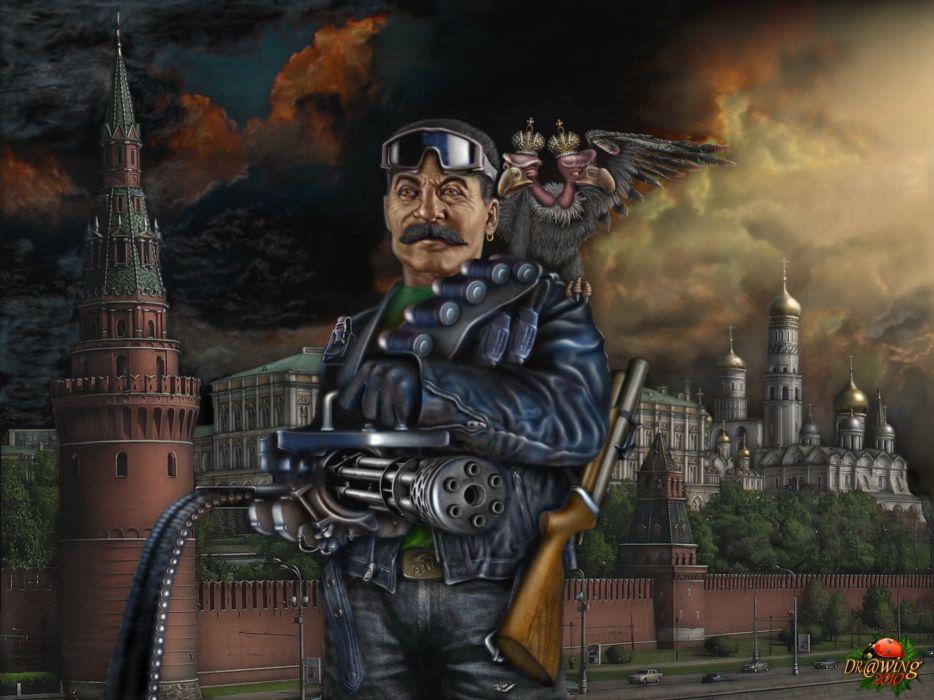 Stalin political politicians people dark men males cg digital-art paintings weapons guns machine machine-guns wallpaper