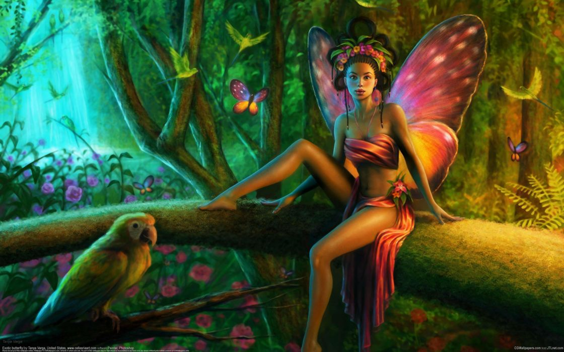 Tanya-Varga Varga Tanya-Wheeler Wheeler Cellesria cellesria_deviantart_com fantasy cg digital-art artistic magical fairies fairy butterflies insects trees forests magical wallpaper