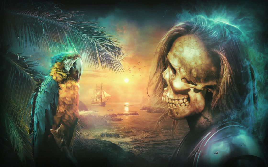 Desktopograghy fantasy pirates parrots animals birds ships dark skulls artistic wallpaper
