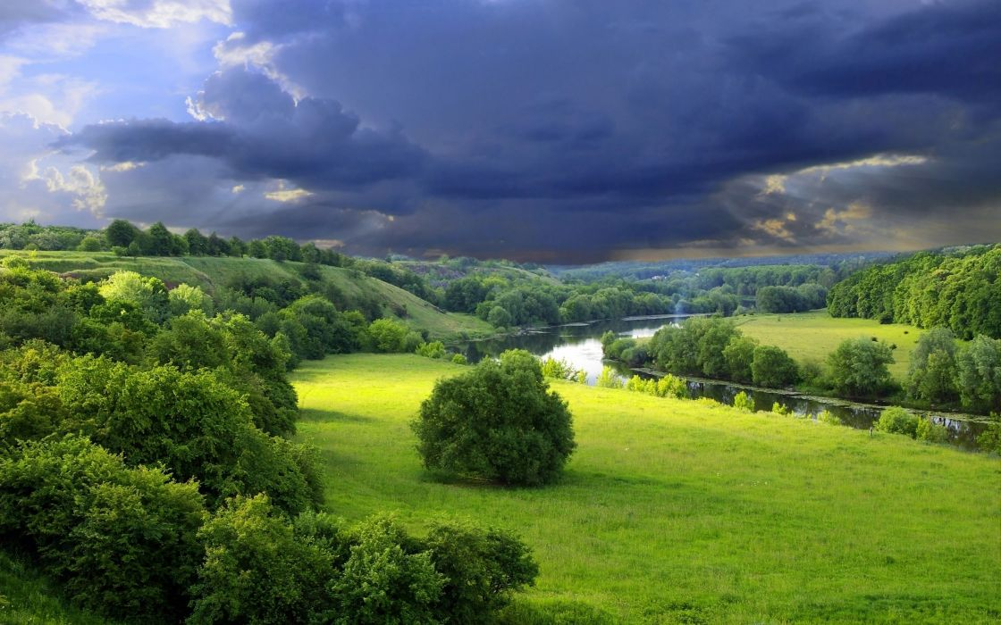 Clouds landscapes nature gray bushes gloomy sky wallpaper