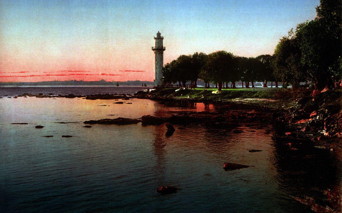 Sunset beach seas lighthouses wallpaper