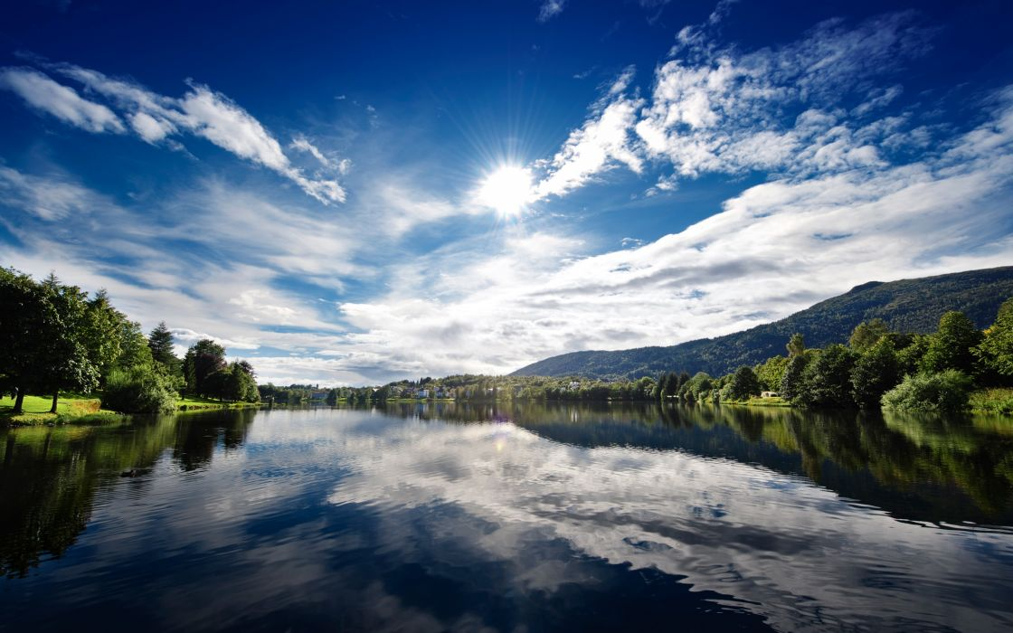 Water clouds landscapes trees wallpaper