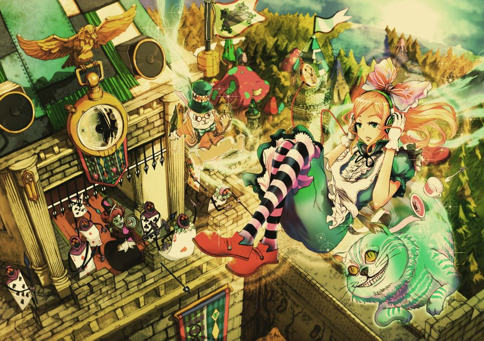 Alice in wonderland anime queen of hearts chesire white rabbit wallpaper