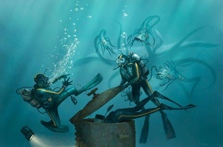 m0zch0ps_deviantart_com paintings airbrushing Conceptual cg digital-art art underwater scuba people oceans creatures monsters dark situations wallpaper