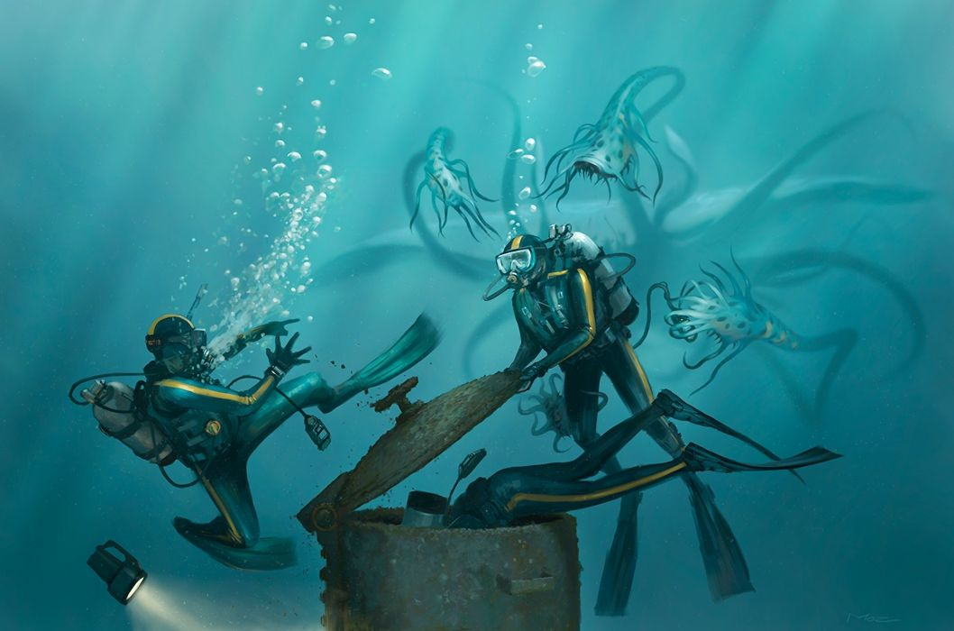 M0zch0ps Deviantart Com Paintings Airbrushing Conceptual Cg Digital Art Underwater Scuba People Oceans Creatures Monsters Dark