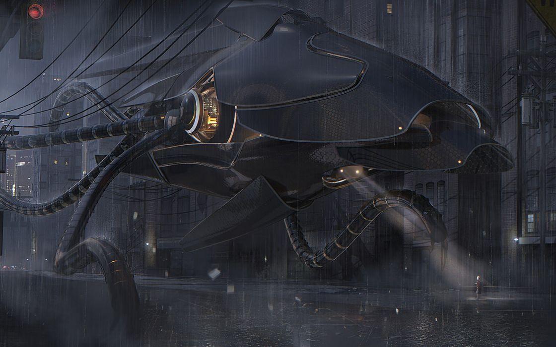 Nicolas-Ferrand Ferrand sci-fi robots mecha mech dark people children futuristic cg digital-art wallpaper