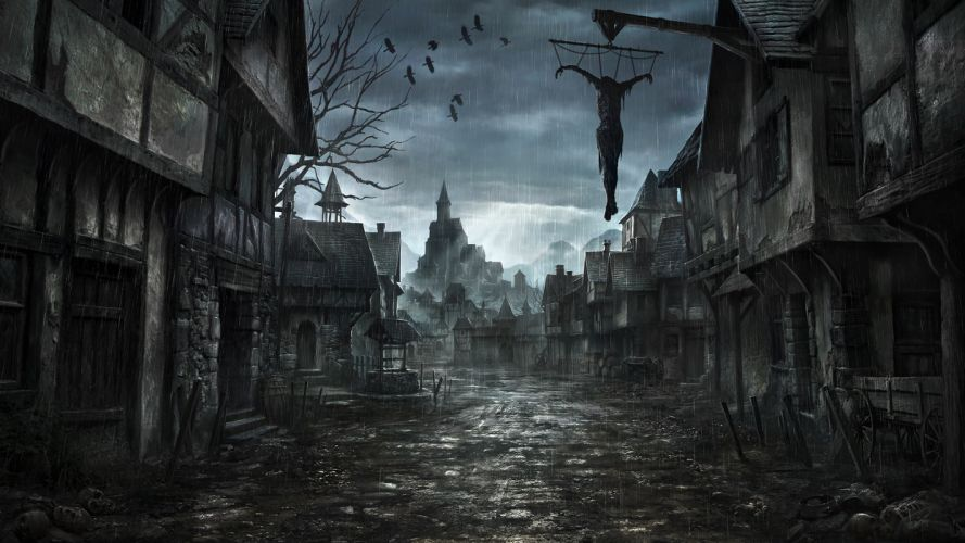 middle-ages jonasdero_deviantart_com jonasdero dark horror scary creepy spooky cities buildings architecture cg digital-art paintings airbrushing wallpaper