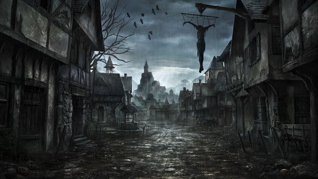 middle-ages jonasdero_deviantart_com jonasdero dark horror scary creepy spooky cities buildings architecture cg digital-art paintings airbrushing wallpaper