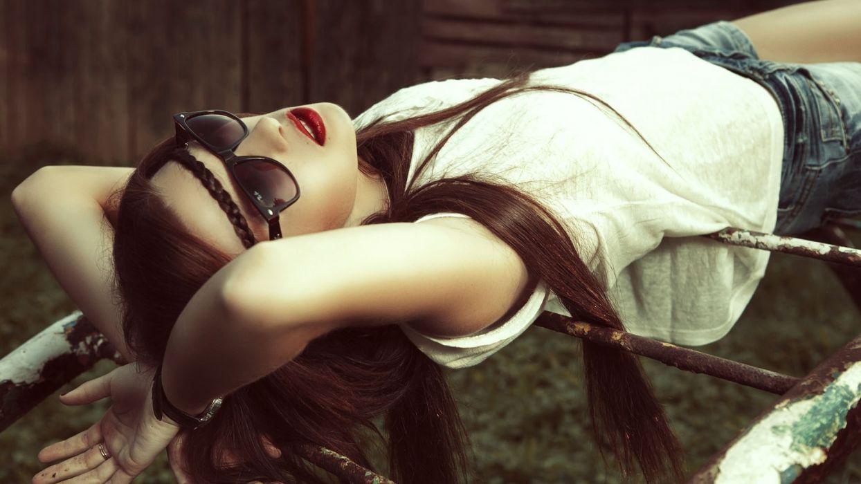 women females girls models sunglasses asian oriental sexy sensual babes wallpaper