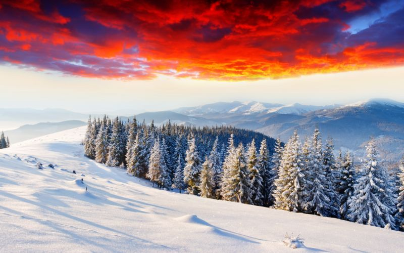 landscapes nature winter seasons snow trees forests mountains sunsets sunrises skies clouds colors wallpaper