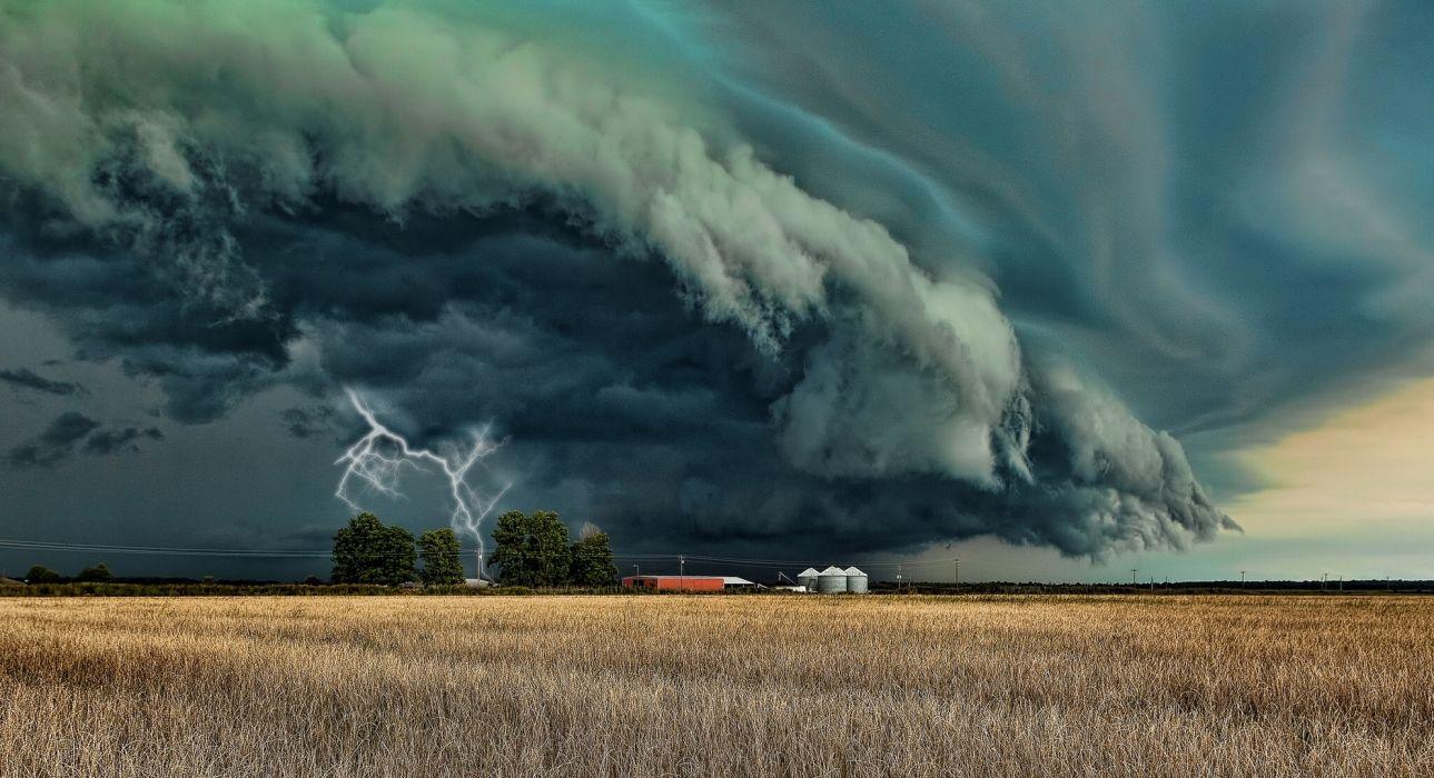 landscapes manipulations cg digital-art storms rain lightning farms farmland fields skies clouds wallpaper