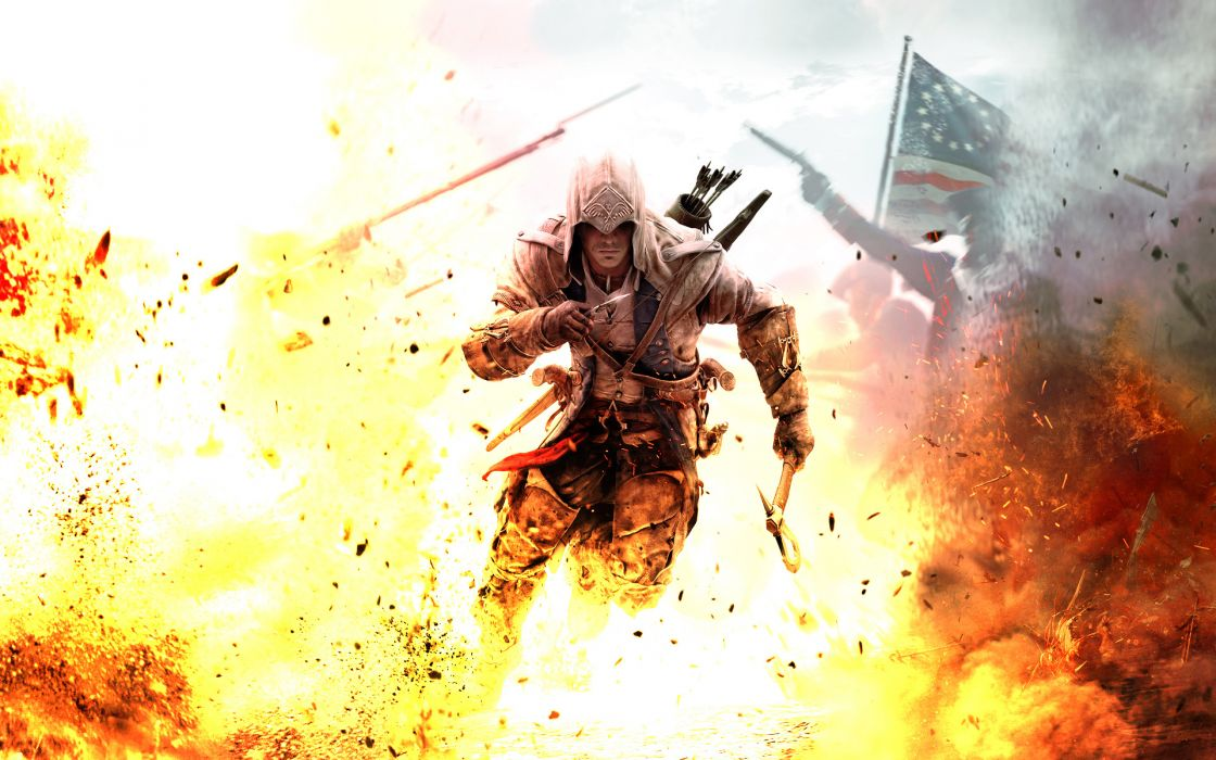 assassins-creed assassins creed fantasy warriors soldiers fire flames explosions weapons swords wallpaper