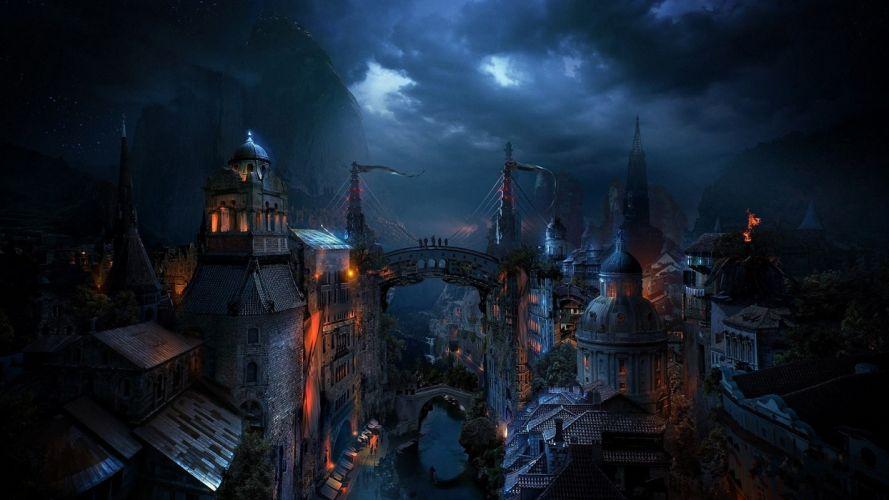 Alexey-Kondakov Kondakov_matte paintings fantasy Zaorn-City world cities dark night lights spooky landscapes digital-art cg art artistic wallpaper