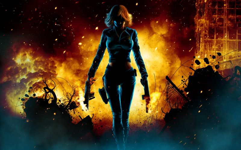 Black-Widow Natasha Natalia Alianovna-Romanova Natasha-Romanoff avengers movies comics games video-games fire flames women females girls sexy sensual babes dark weapons guns cg digital-art wallpaper