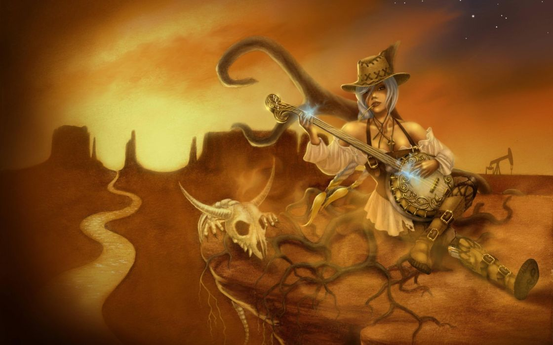elfenn_deviantart_com Sona League of Legends Paintings Airbrushing fantasy games video-games people wallpaper