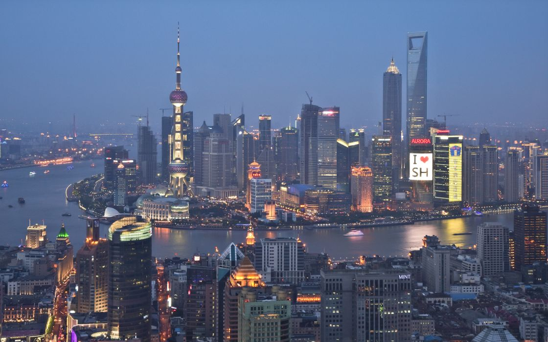 Shanghai cities places architecture buildings skyscrapers night lights wallpaper