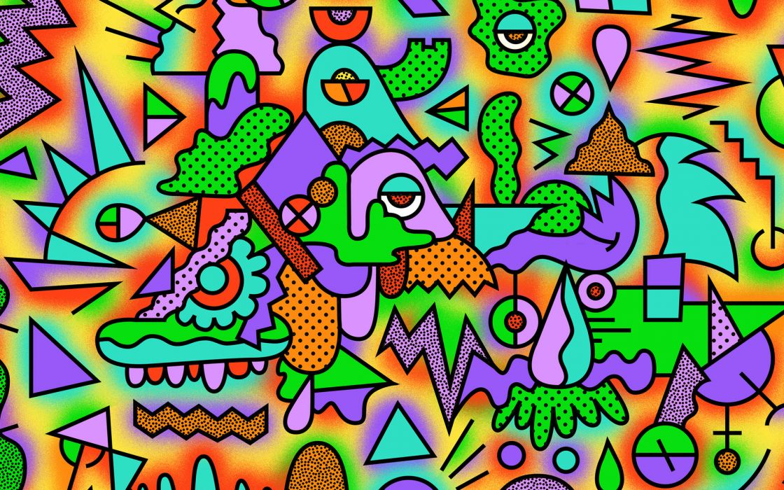 abstract colors vector psychedelic pattern wallpaper